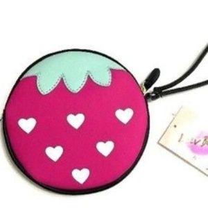 Betsey Johnson Strawberry Berry Wristlet Purse